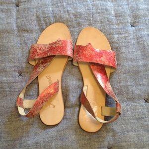 NWOB Free People Under Wraps Red Metallic sandal